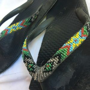 Beaded Westen Style Flip Flip Thong Sandals Sz 8-9